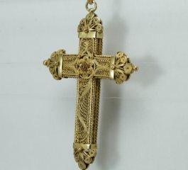 Antique gold filigree cross pendant precious antique fine description gold filigree antique cross pendant aloadofball Image collections